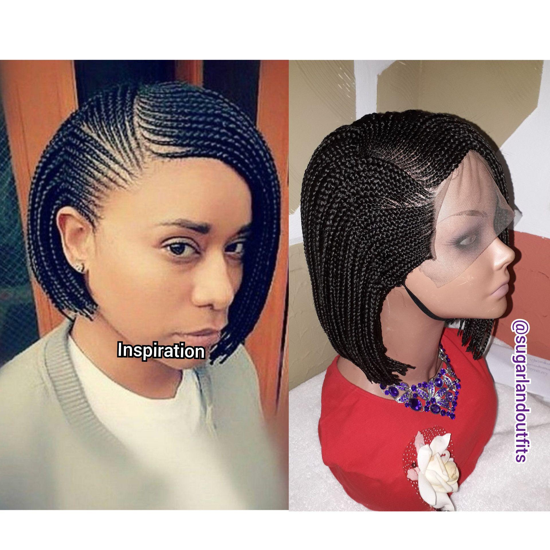 Side Ways Cornrow Weaving Wig Box Braids Short Braids Etsy Braids For Black Hair Short Braids Cornrows Braids For Black Women