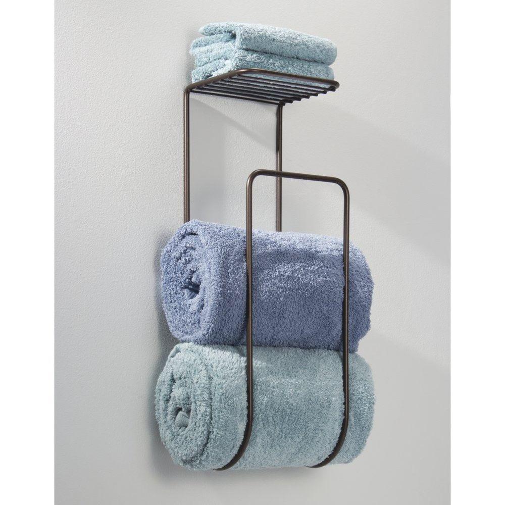 Bathroom Towel Holder Wall Mounted Shelf Bath Organizer Storage Rack ...