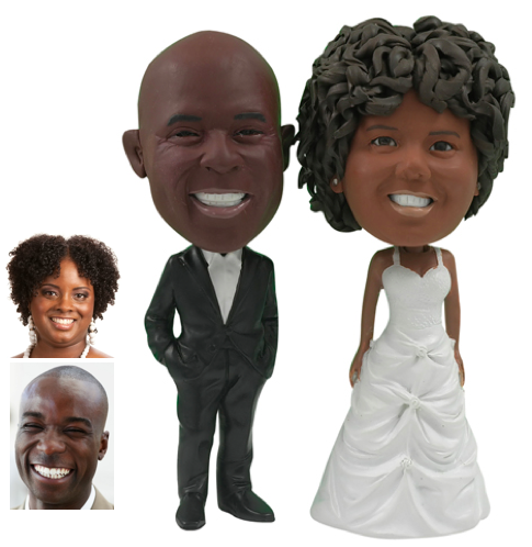 This Custom Made Cake Topper Couple Has A Groom Wearing Black Suit With White Dress Shirt Standing His Hands In Pockets The Bride Wears