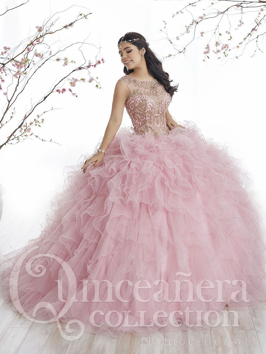 21474c03cf6 Tiffany Quinceanera 26835 Rose Pink Gold High Neckline Ball Gown in ...
