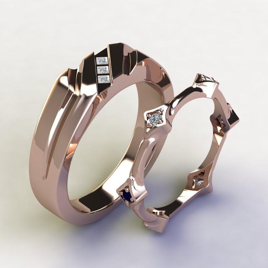 Modern 14K Rose Gold Diamond Wedding Band Set For Him and