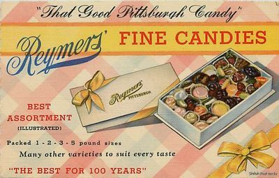 Linen Advertising Postcard For Reymers Fine Candies Pittsburgh Pa