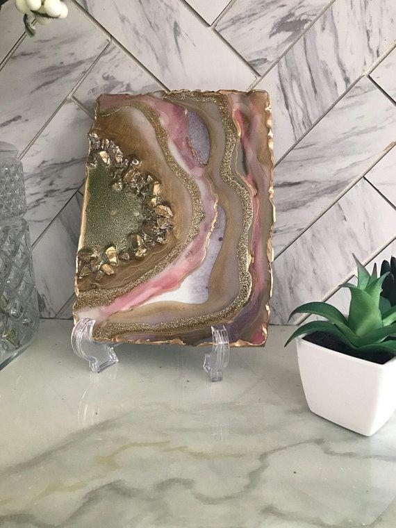 Mini Geode Decor Pink Mauve Geodedecor Agate Painting