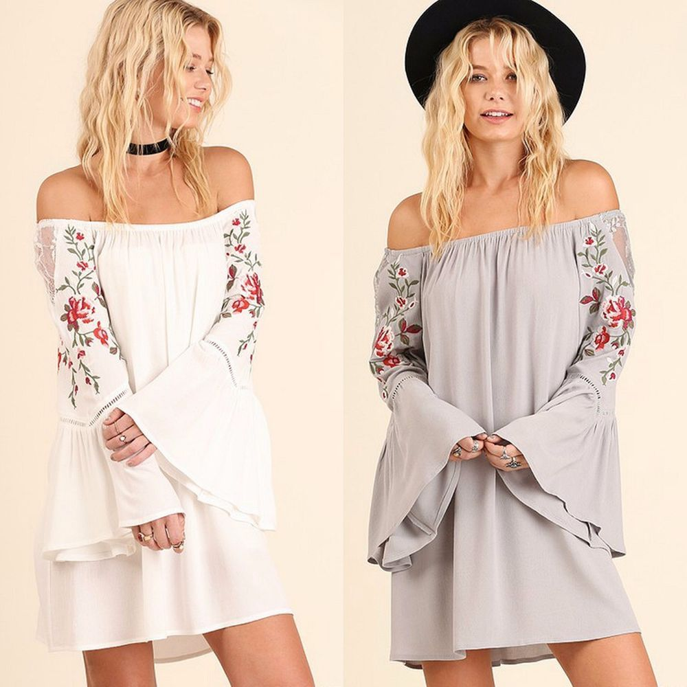 c04a081f03b313 UMGEE Boho Off Shoulder Embroidered Floral Bell Sleeve Swing Dress Ivory or  Grey #Umgee #OffShoulderFlowySwingDressShiftTunic #Casual