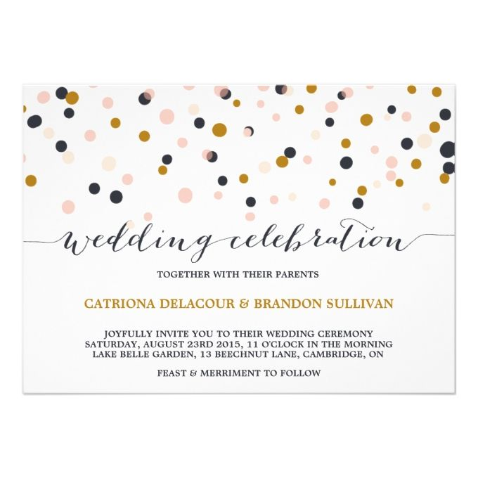 Pink gold confetti dots wedding invitation gold confetti pink and gold confetti dots wedding invitation 5 x 7 invitation card stopboris Images