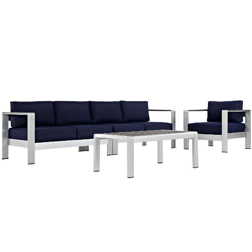 Shore 4 Piece Outdoor Patio Aluminum Sectional Sofa Set Eei 2563