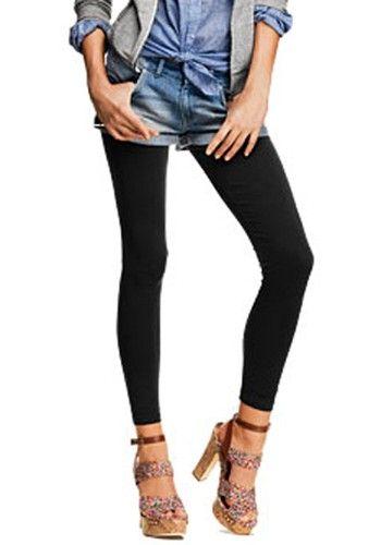 Super Cute! Love this look! Black Elastic Waist Long Skinny Stretch-Fabrics Pants #Super_Cute #Fashion