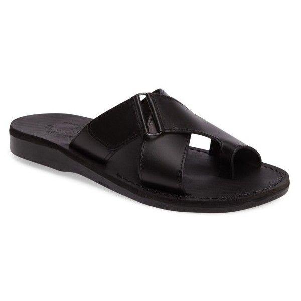 ca9c621f1 Men s Jerusalem Sandals Asher Slide Sandal featuring polyvore men s fashion  men s shoes men s sandals black leather mens black sandals mens sandals mens  ...