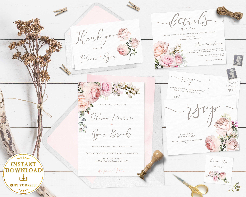 Wedding Invitation Template SET Editable Blush/Rose/Pink & Ivory ...