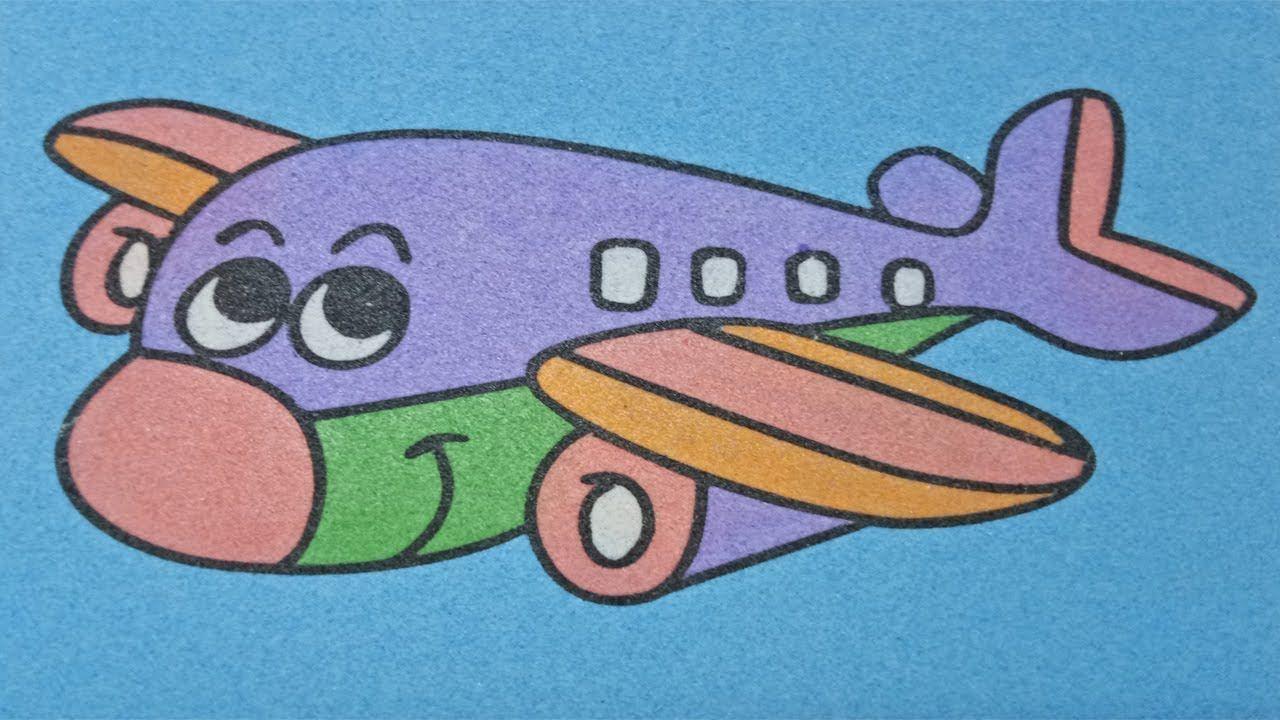 Sand Painting Art Mewarnai Gambar Pesawat Drawing And Coloring