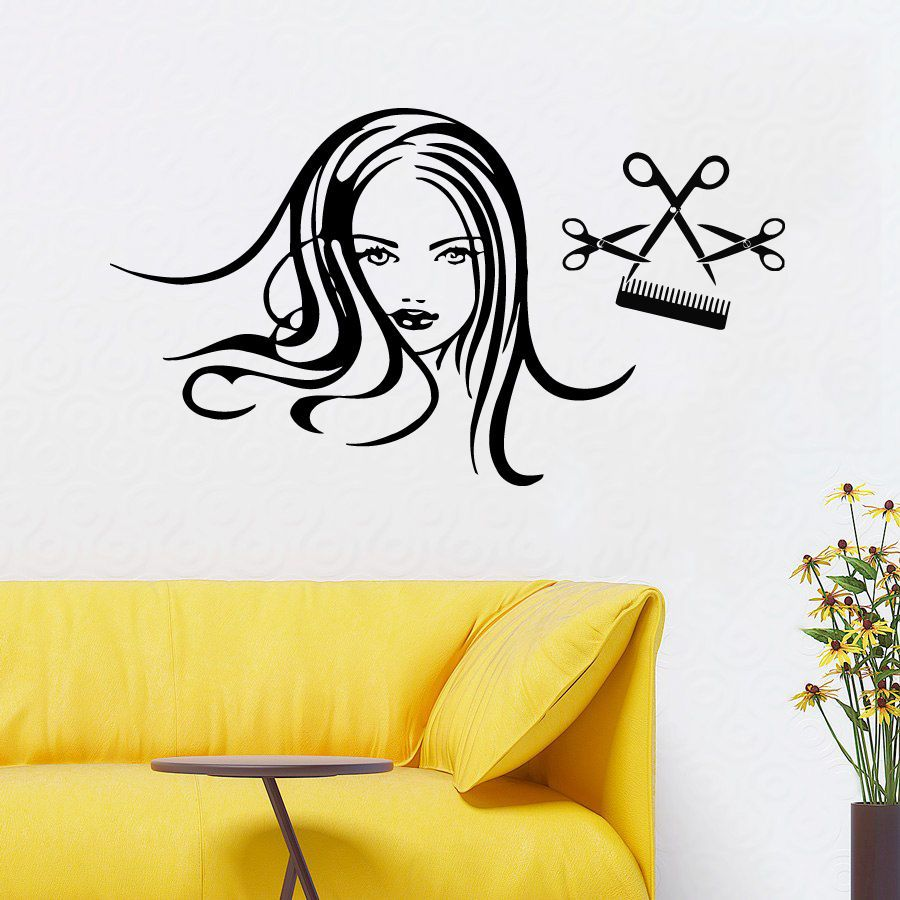 Wall Decals Girl Hair Beauty Salon Vinyl Sticker Scissors Comb Art ...
