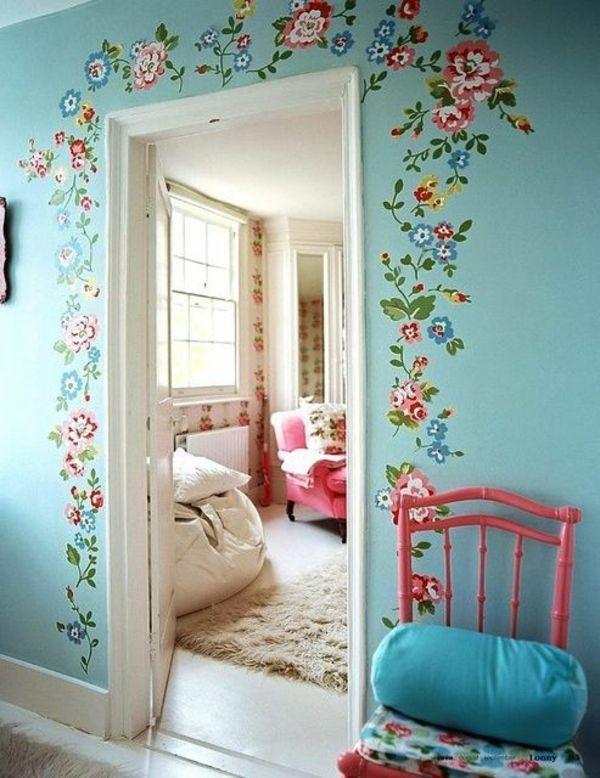 Wunderbar Streichideen Vintage Wände Blumen Diy Tür