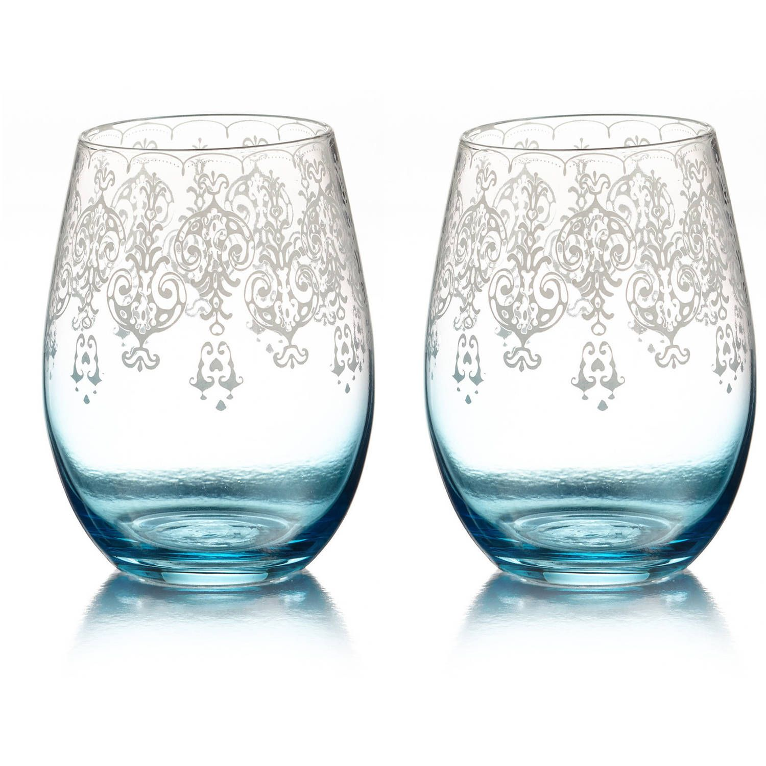 Buy Lace Stemless Glasses, Blue, Set of 2 at Walmart.com - Free ...