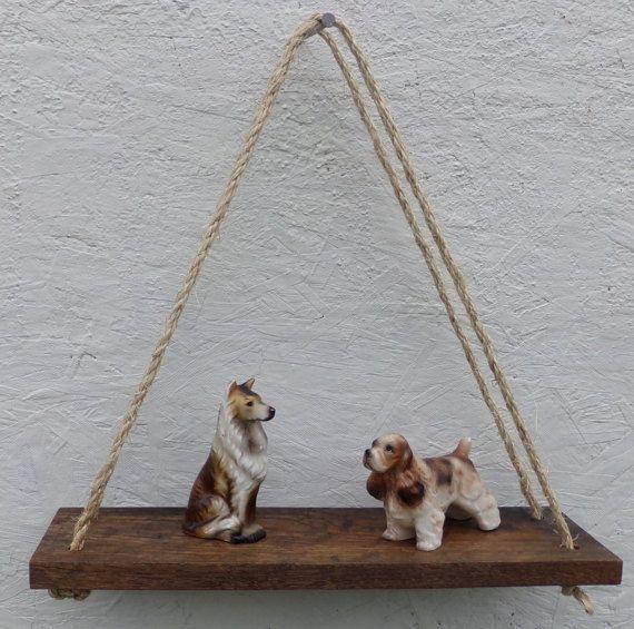 Rustic Reclaimed Wood Small Swing Shelf / Trinket Shelf / Toy