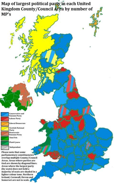 Map Of Largest Political Party In Each United Kingdom County Council Area By Number Of