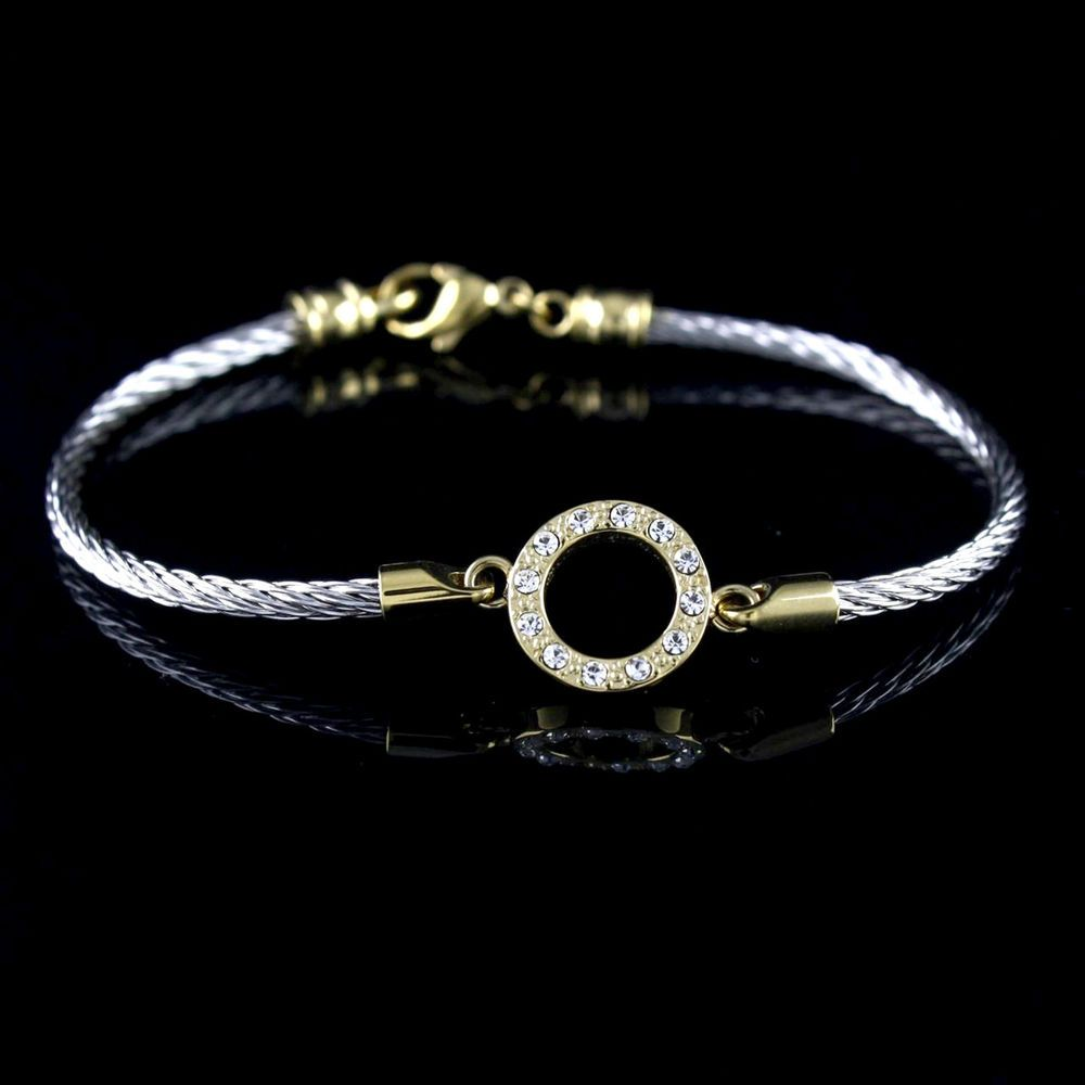 Steel by design circle horizontal crystal average bracelet h