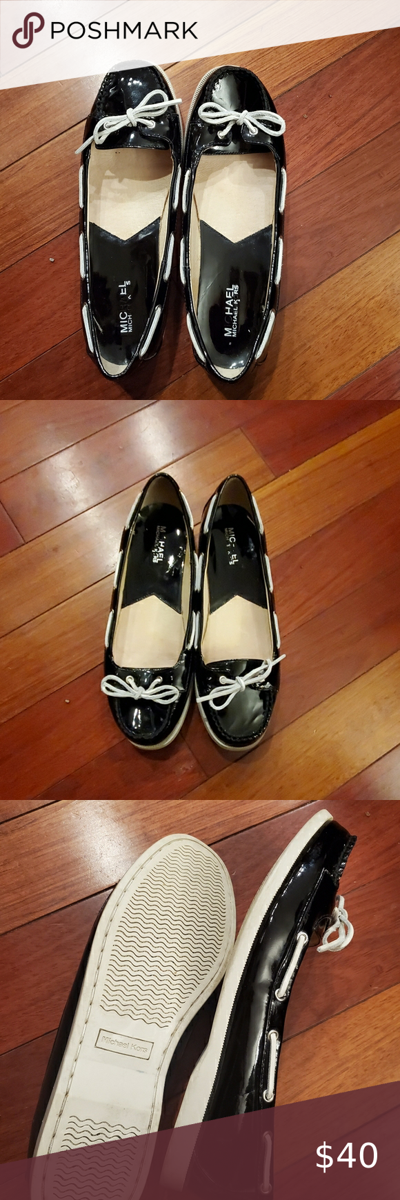 Michael Kors Patent Leather Boat Shoes