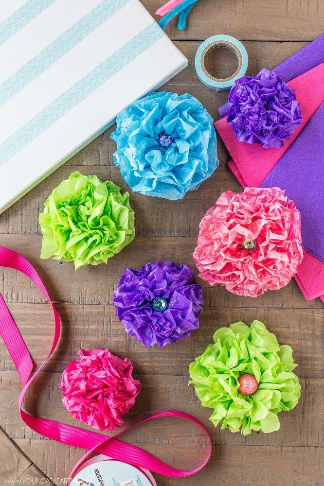 Tissue Paper Flower Bouquet Canvas Paper Flowers Spring Crafts