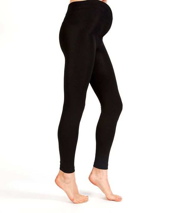Look at this Plush Black Fleece-Lined Maternity Footless Tights - Women on #zulily today!