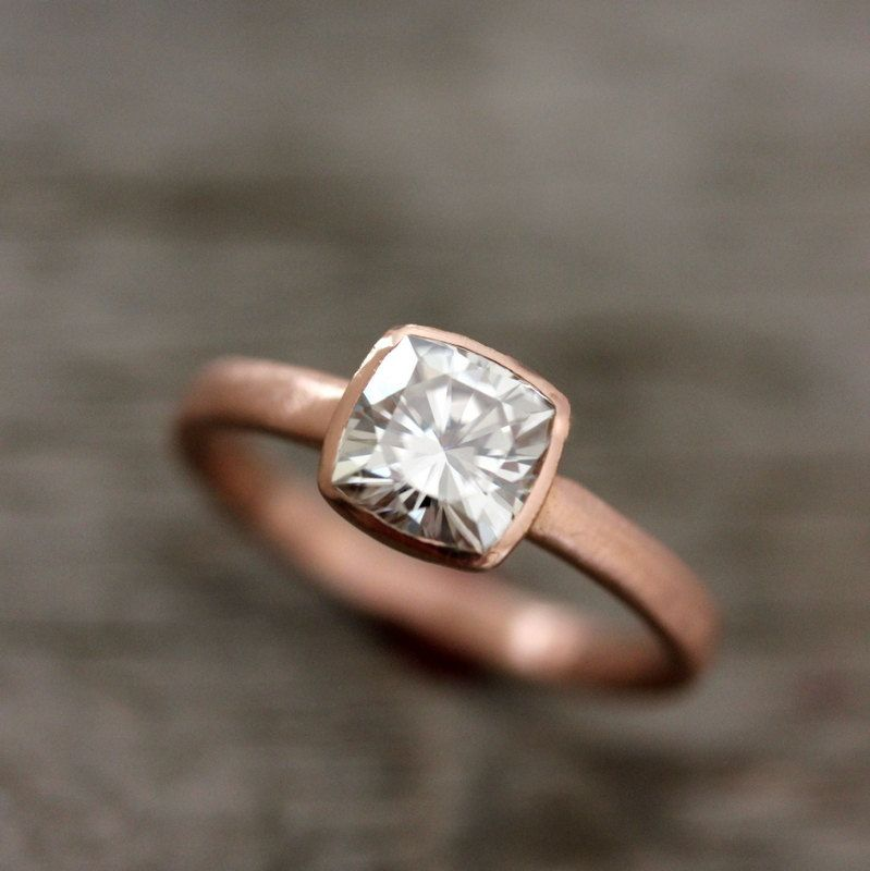 Cushion Cut Moissanite Engagement Ring in 14k Rose Gold, Solitaire Cushion  Cut Gemstone Ring.