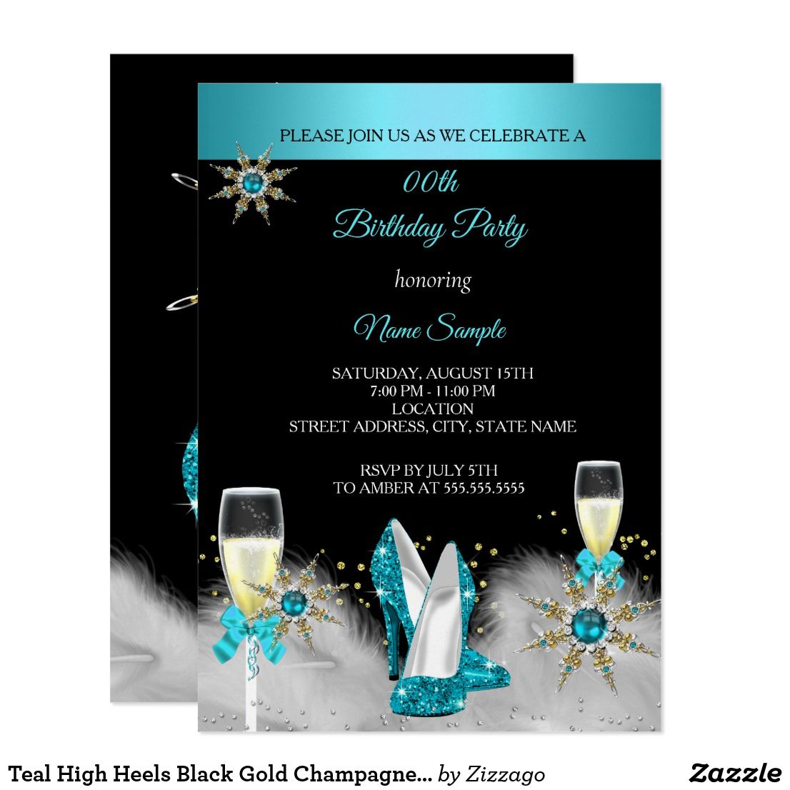 Teal High Heels Black Gold Champagne Party Invitation Zazzle Com Teal High Heels Champagne Party Black High Heels