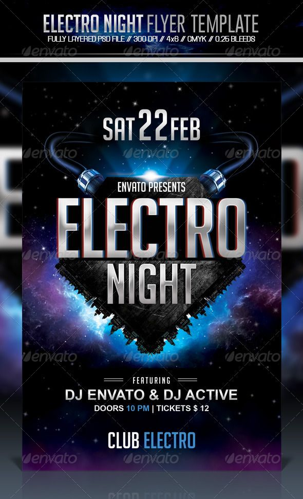 Electro Night Flyer Electro music, Flyer template and Template - electro flyer