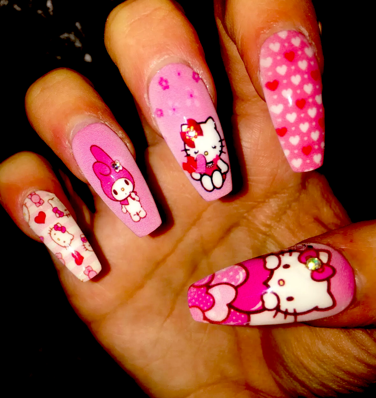 Hello Kitty And My Melody In 2020 Bling Acrylic Nails Hello Kitty Nails Best Acrylic Nails