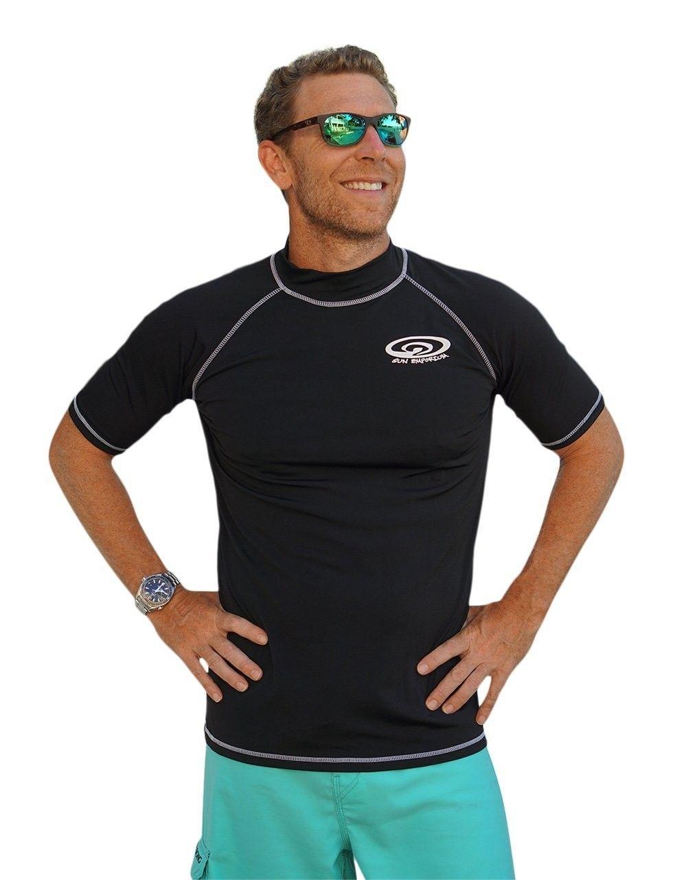915f1264e9e Plus Size Rash Guard Swim Shirt For Big and Tall Large Men - Black ...