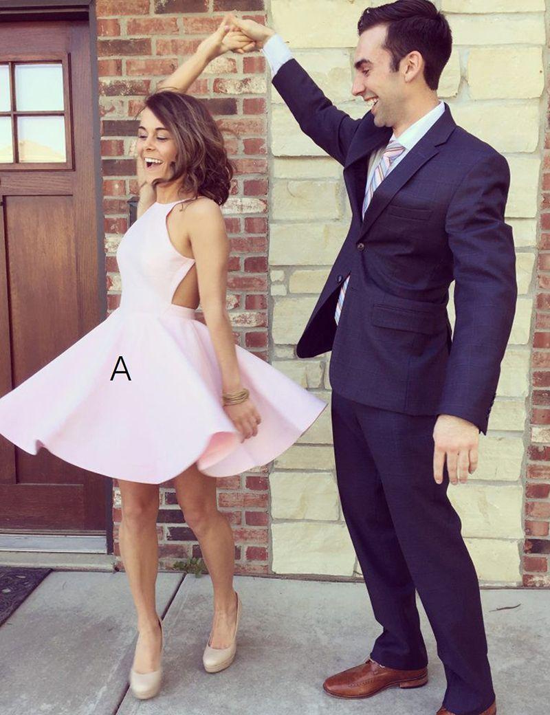 Simple jewel sleeveless open short pink satin homecoming dress