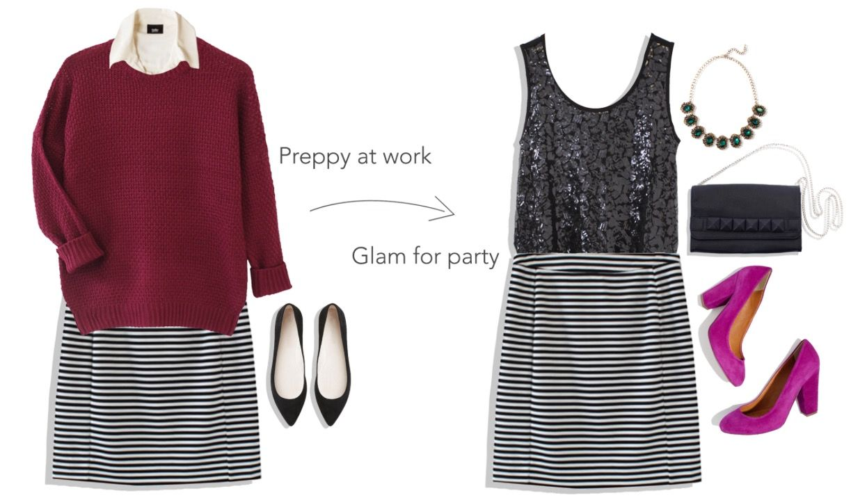 From work to a holiday party