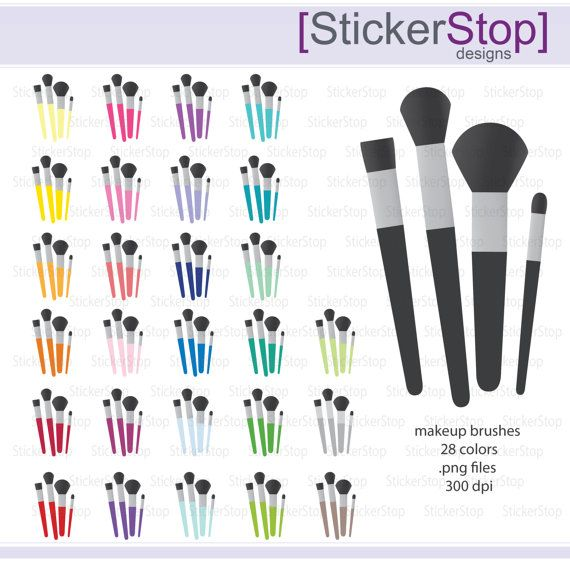 Makeup Brushes Icon Digital Clipart In Rainbow Colors Etsy Digital Clip Art Clip Art Makeup Brushes