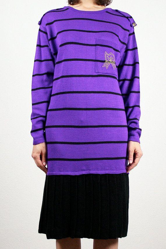 0211e61cb1e0 Vintage Purple Sweater dress Purple Black Striped Drop Waist Midi Dress  Pleated Skirt New Wave Long