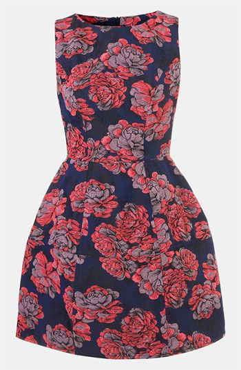 Topshop 'Champion' Floral Jacquard Dress available at #Nordstrom- Do not have your girls looking like every other wedding.  Add personality to your wedding and purchasing at a store, guarantees a better fit, versus being altered at the traditional bridal store and incurs more costs to your bridesmaids.