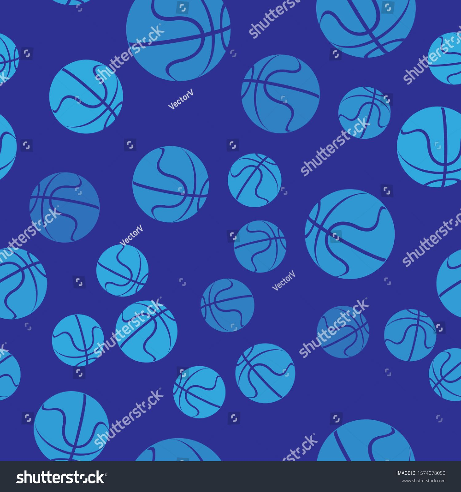 Blue Basketball ball icon isolated seamless pattern on