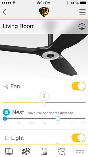 The Residential Ceiling Fan Gets Smart Big Ass Fans has upgraded its consumer unit to work with Nest's Learning Thermostat. #nest #bigassfans #haiku A screenshot of the new monitoring app's interface.