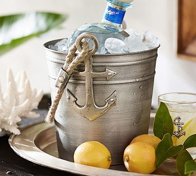 """Anchor Ice Bucket - Pottery Barn 7.75"""" diameter, 8.75"""" high  Made of iron and aluminum with a matte antique silver finish.   Rope handle    $49.50"""