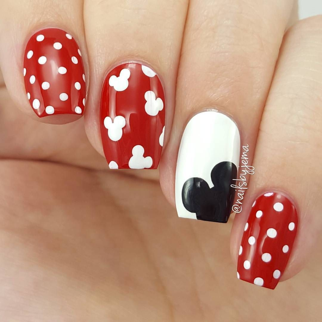 Polka Dot Mickey Mouse Nails | uñas bonitas Y pies hemosos ...
