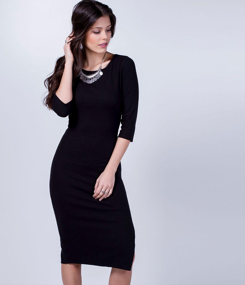 Vestido Midi com Fenda Lateral - Lojas Renner