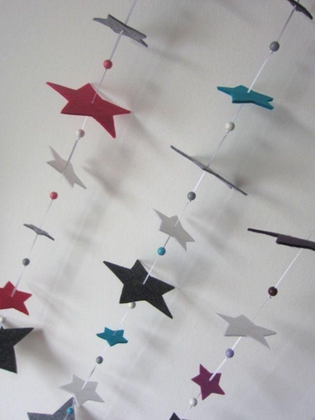 Girlanden & Wimpelketten - SternenzauberGirlande für´s Kinderzimmer - ein Designerstück von wunderwerkstatt-manufaktur bei DaWanda #christbaumschmuckbastelnkinder