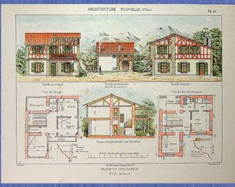 Original antique architectural print from 1901 describe houses original antique architectural print from 1901 describe houses villas workers houses farms hotels malvernweather Gallery
