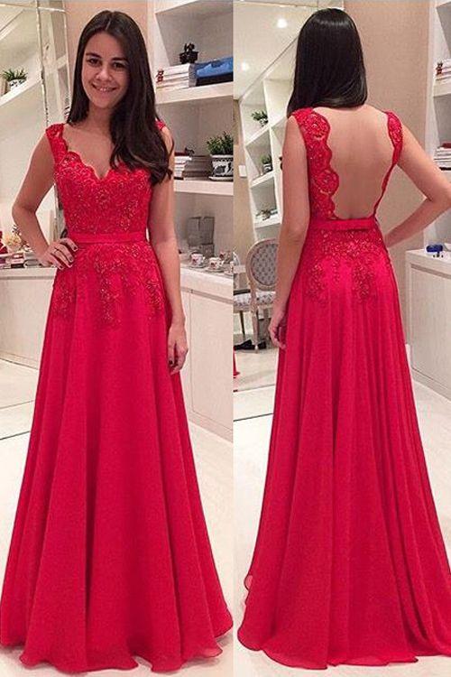 bac23fec817 Elegant V-neck Floor Length Lace Backless Red Prom Evening Dress ...