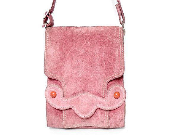 Vtg 60s 70s Dusky Pink Suede Mod Hippie Boho Handbag by velvetcave