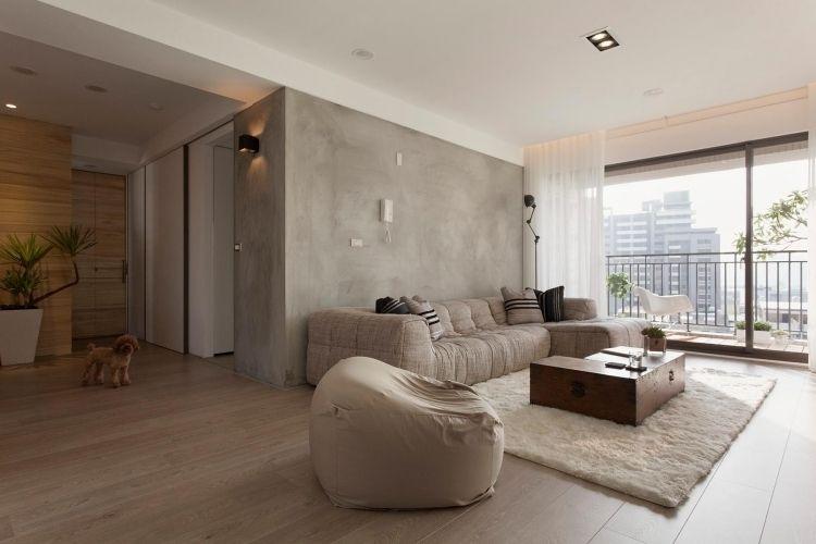 feng shui wohnzimmer einrichten modern beige braun erdtoene teppich kuschelig sitzsack. Black Bedroom Furniture Sets. Home Design Ideas