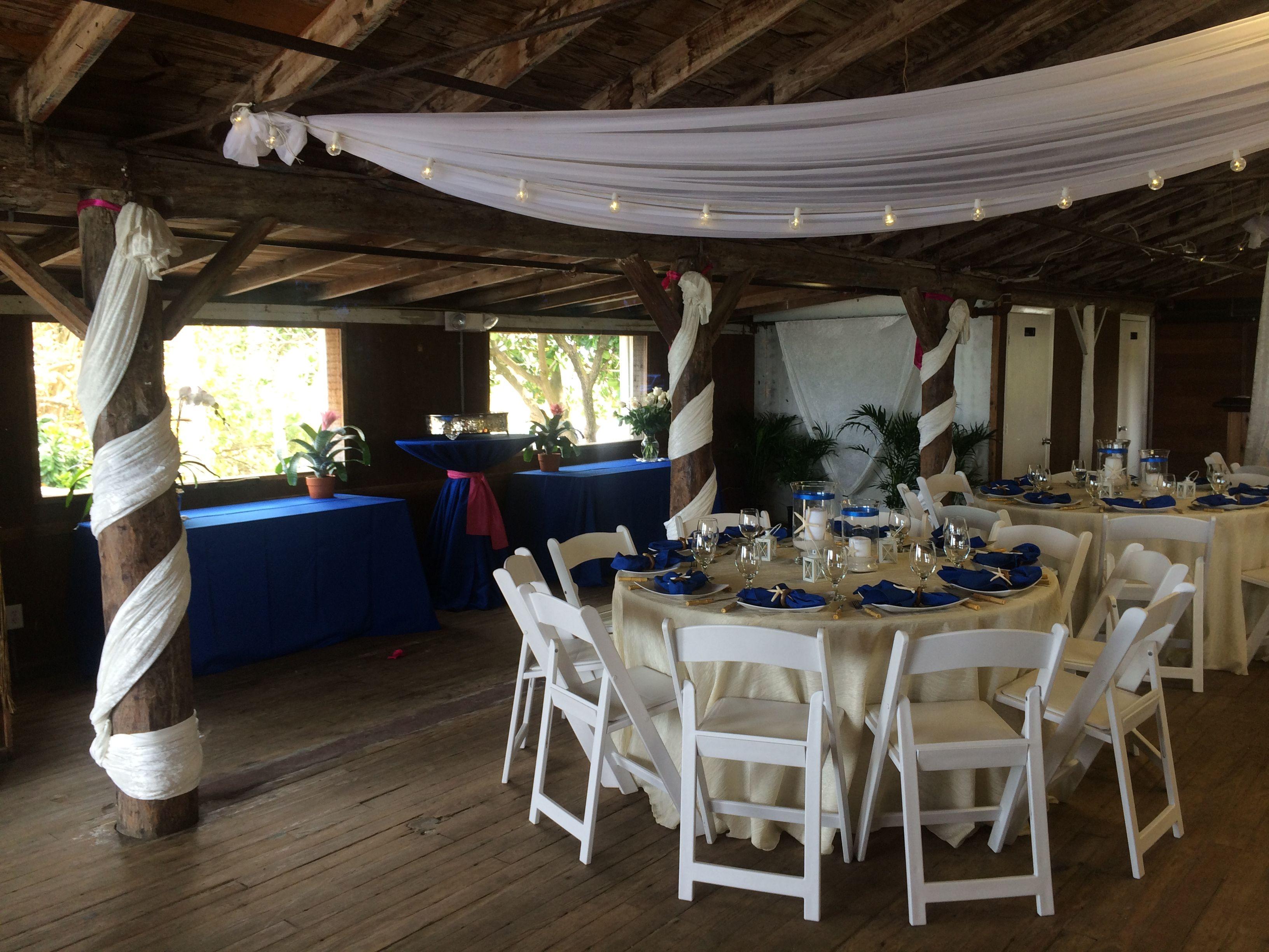 Elegant White Organza Draping With Romantic Bistro Lighting For A Wedding Reception At The Jupiter Civic VenuesWedding ReceptionBeach