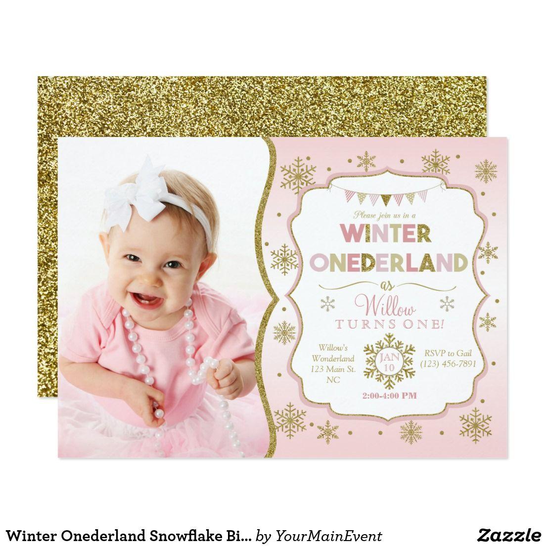 Winter Onederland Snowflake Birthday Invitation | Winter onederland ...