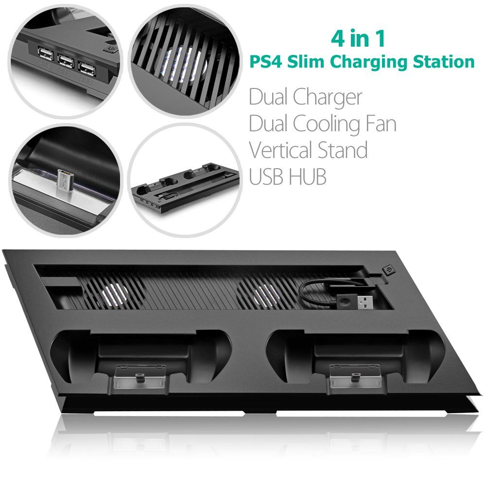 Ps4 Slim Vertical Stand Cooling Fan With Dual Usb Charger Ports 2