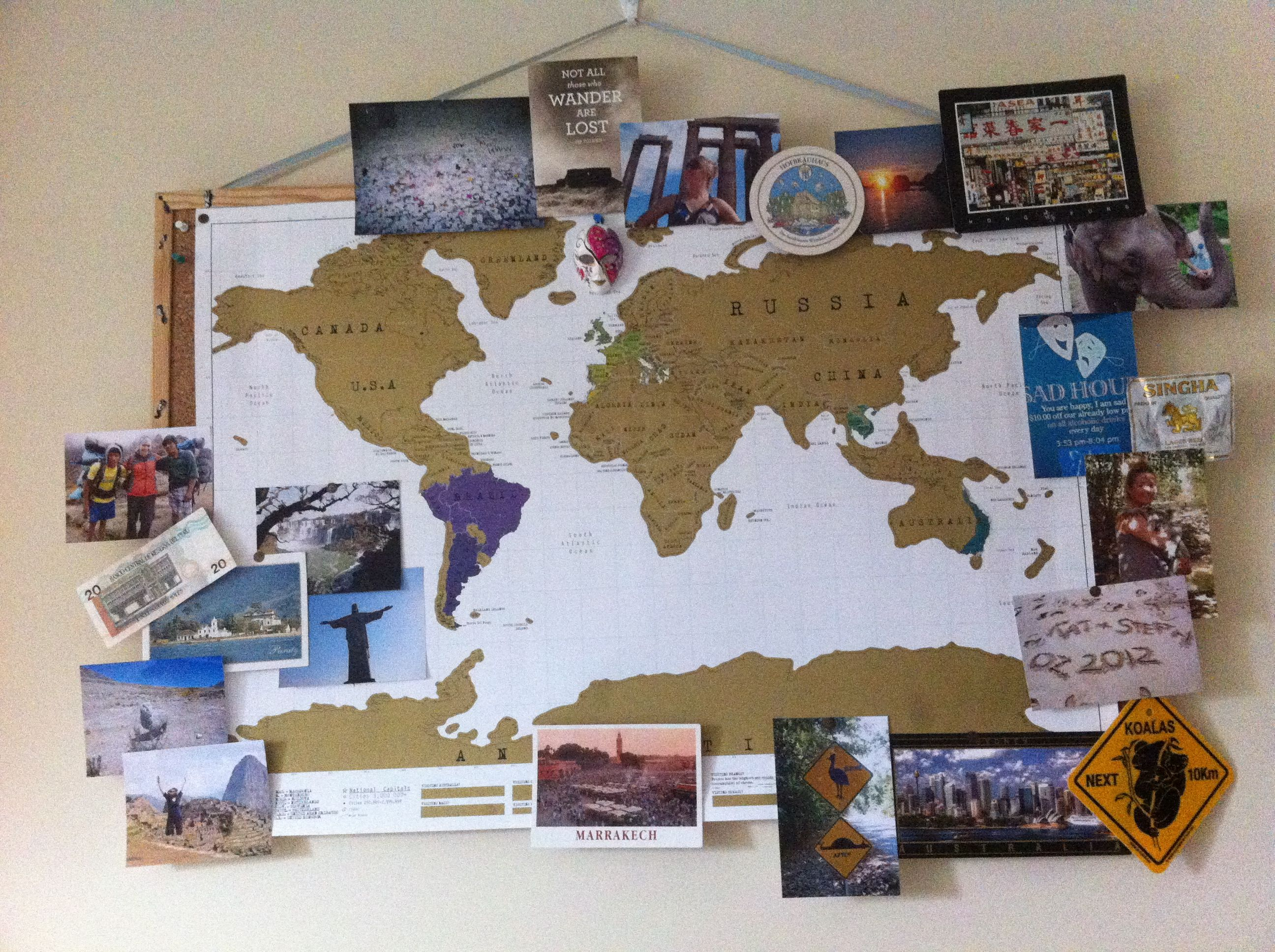 The scratch-map currently adorning my bedroom wall. Everyone should ...