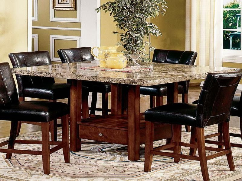 Modern dining room sets granite top dining table storage for Dining room table top ideas