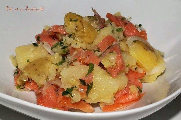 Salade de pommes de terre au saumon fumé   Recette   Pomme de terre, Salade pomme de terre ...