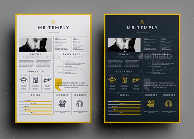 Visual Resume Visual Resume Downloadable Resume Template Creative Resume Template Free